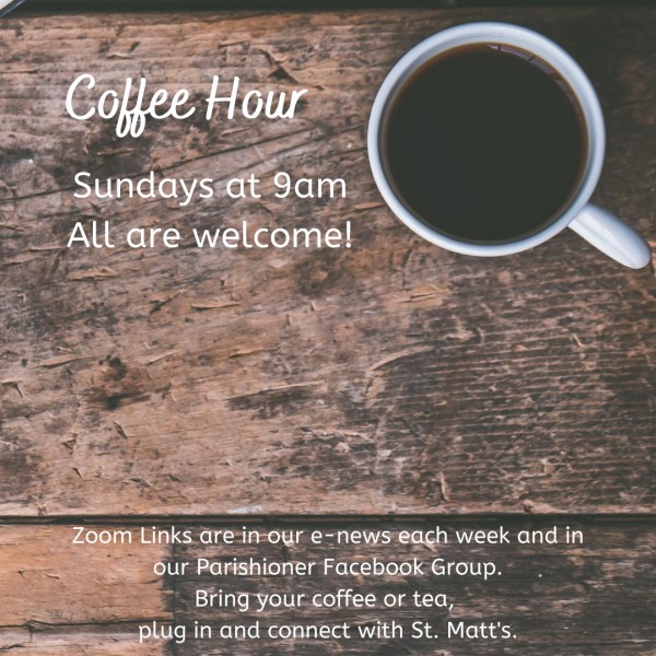 Coffee Hour Begins Again on September 20th!